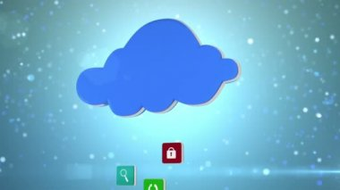 App icons floating up to cloud — Stock Video