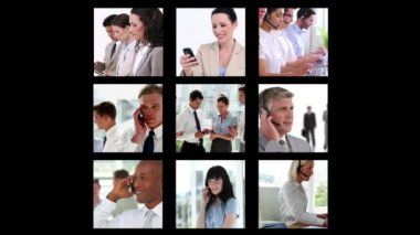 Different screens showing business people — Stock Video