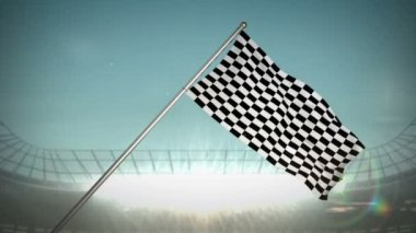 Checkered flag in flashing arena — Video Stock