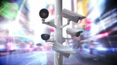 CCTV cameras over a busy road — Stock Video
