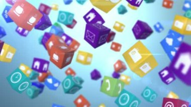 Computer app icon cubes with cloud — Stock Video