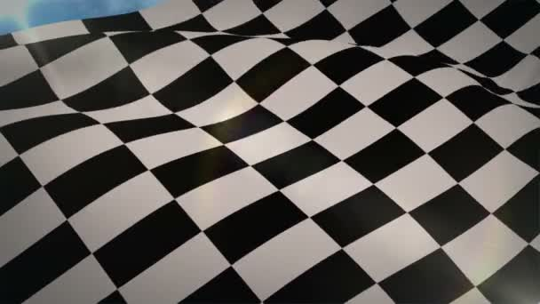 Checkered flag blowing in wind — Vidéo