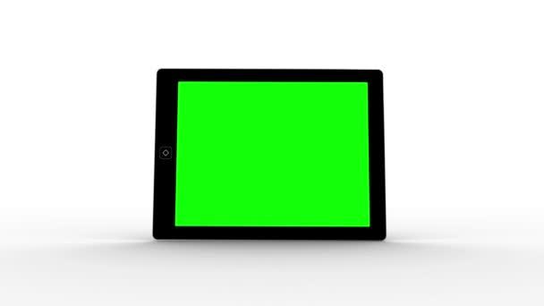 Tablet pantalla mostrando copia verde espacio — Vídeo de stock