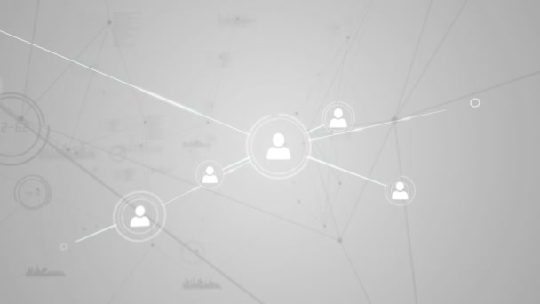Online community on grey screen — Vidéo
