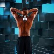 Fit shirtless man lifting dumbbell — Stock Photo #73179979