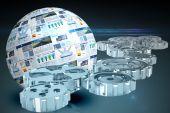 Engrenagens e rodas contra a esfera de tela — Fotografia Stock