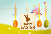 对兔子与鸡蛋的快乐复活节图形。 — 图库照片