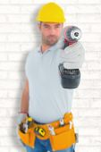 Handyman using power drill — Stock Photo