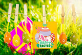Pink gift with easter egg and yellow tulip — Stock Photo