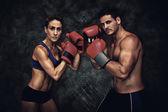 Imagem composta de casal boxe — Fotografia Stock