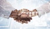 Handshake against new york — Stock Photo