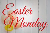 Easter monday against three eggs — Stock Photo