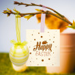 Happy easter graphic against chick — Stock Photo #73184893