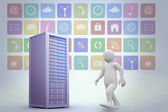 Character walking against grey server tower — Stockfoto