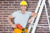 Technician holding drill machine — Stock Photo