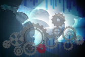 Cogs and wheels against global business graphic — Stock Photo