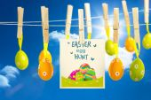 Easter  eggs hunt graphic against blue sky — Stock Photo