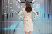 Businesswoman standing back to camera — Stock Photo