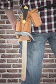 Handyman wearing tool belt — Stock Photo