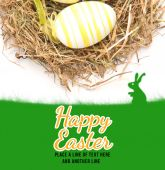 Grass against happy easter and eggs — Stock Photo