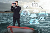 Composite image of businessman in boat with binoculars — Stock Photo