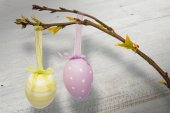 Hanging easter eggs — Stock Photo
