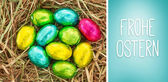 Composite image of frohe ostern — Stock Photo
