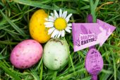 Easter egg hunt sign — Stock Photo