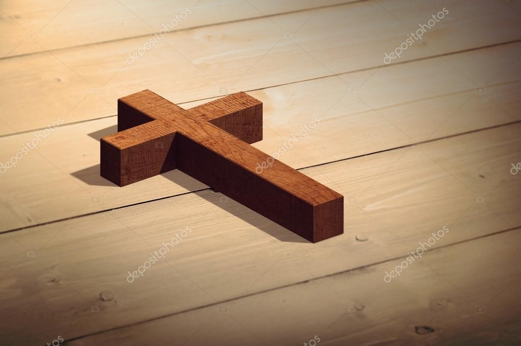 复合图像的木制十字架