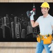 Carpenter holding cordless drill — Stock Photo #73195359
