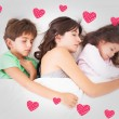 Mother asleep with her children — Stock Photo #73198275