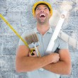 Manual worker holding various tools — Stock Photo #73199843
