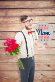Hipster offering bunch of roses — Stock Photo