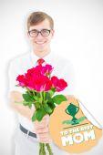 Immagine composita di geeky hipster con mazzo di Rose — Foto Stock