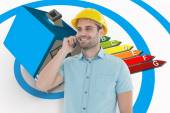 Male architect talking on mobile phone — Stock Photo