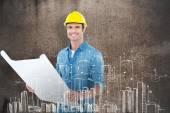 Happy architect holding blueprint — Stock Photo