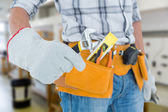 Technician using adjustable wrench — Stock Photo