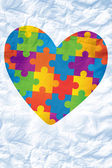 Composite image of autism awareness heart — Stockfoto