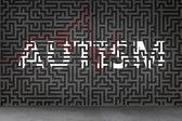 Autism against grey maze — Stock Photo