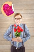 Hipster holding a bunch of roses — Stock Photo