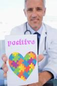 Word positive and male doctor — Zdjęcie stockowe