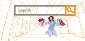 Brunette jumping while holding shopping bags — Stock Photo