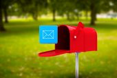 Composite image of red email postbox — Stock Photo