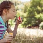 Cute little girl blowing bubbles — Stock Photo #73263715