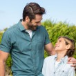 Father and son smiling at each other — Stock Photo #73267965