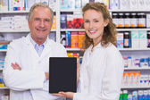 Pharmacist showing tablet pc — Stock Photo
