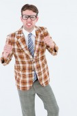 Angry geeky hipster looking at camera — Stock Photo
