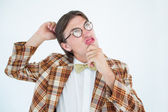 Geeky hipster scratching his head — Stock Photo