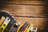 Establecidos en la tabla de herramientas de bricolaje — Foto de Stock