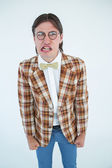 Furious geeky hipster looking at camera — Stock Photo